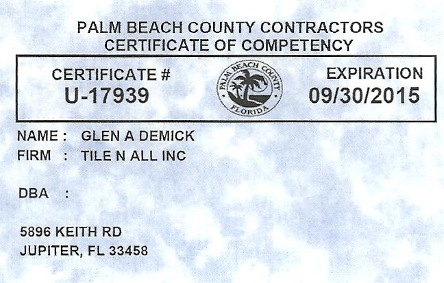 Tile Contractor License : Tile contractor licensed insured bonded palm beach to st